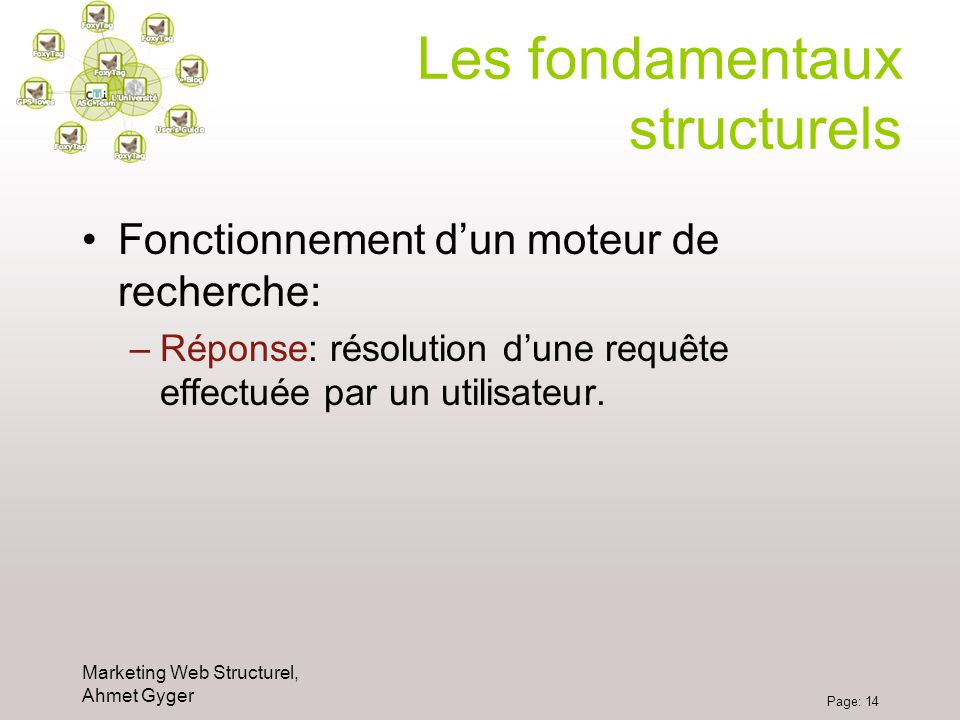 Marketing Web Structurel, Ahmet Gyger Page: 14 Les fondamentaux structurels Fonctionnement dun moteur de recherche: –Réponse: résolution dune requête