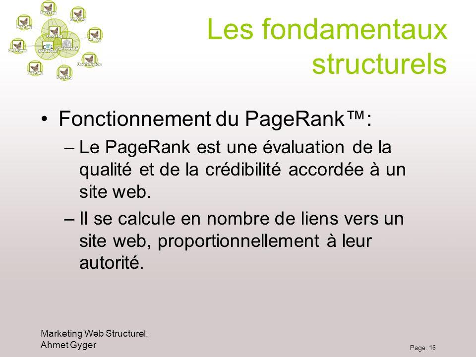 Marketing Web Structurel, Ahmet Gyger Page: 16 Les fondamentaux structurels Fonctionnement du PageRank: –Le PageRank est une évaluation de la qualité