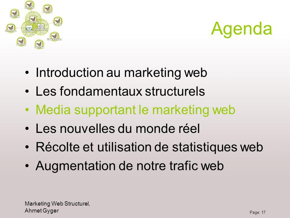 Marketing Web Structurel, Ahmet Gyger Page: 17 Agenda Introduction au marketing web Les fondamentaux structurels Media supportant le marketing web Les