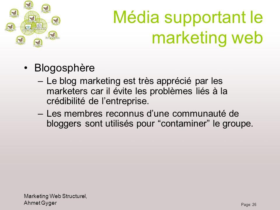 Marketing Web Structurel, Ahmet Gyger Page: 26 Média supportant le marketing web Blogosphère –Le blog marketing est très apprécié par les marketers ca