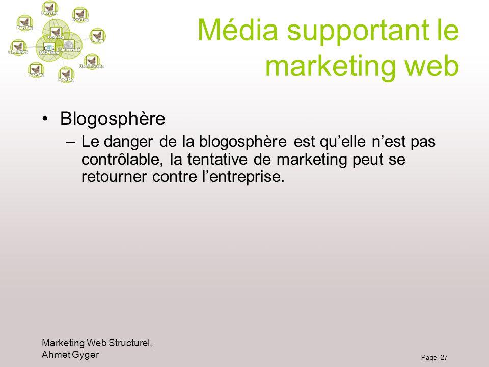 Marketing Web Structurel, Ahmet Gyger Page: 27 Média supportant le marketing web Blogosphère –Le danger de la blogosphère est quelle nest pas contrôla