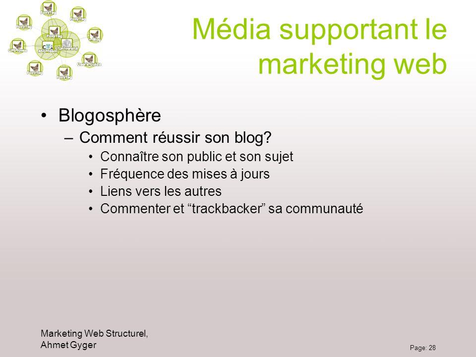 Marketing Web Structurel, Ahmet Gyger Page: 28 Média supportant le marketing web Blogosphère –Comment réussir son blog? Connaître son public et son su