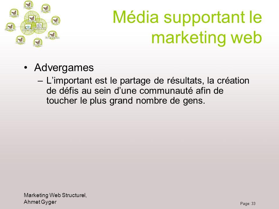Marketing Web Structurel, Ahmet Gyger Page: 33 Média supportant le marketing web Advergames –Limportant est le partage de résultats, la création de dé