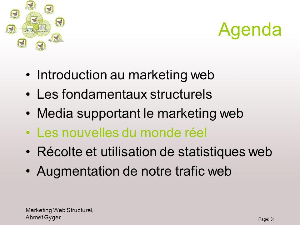 Marketing Web Structurel, Ahmet Gyger Page: 34 Agenda Introduction au marketing web Les fondamentaux structurels Media supportant le marketing web Les