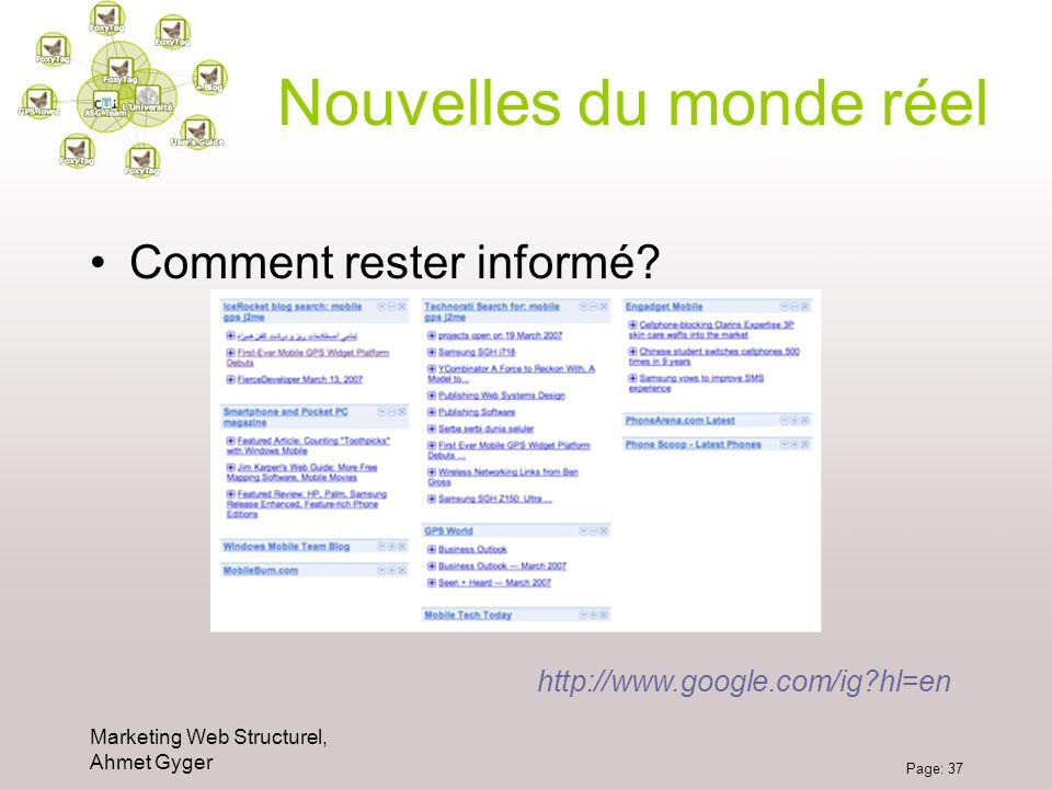 Marketing Web Structurel, Ahmet Gyger Page: 37 Nouvelles du monde réel Comment rester informé? http://www.google.com/ig?hl=en