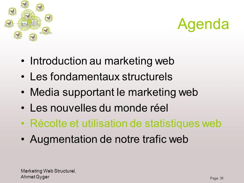 Marketing Web Structurel, Ahmet Gyger Page: 39 Agenda Introduction au marketing web Les fondamentaux structurels Media supportant le marketing web Les