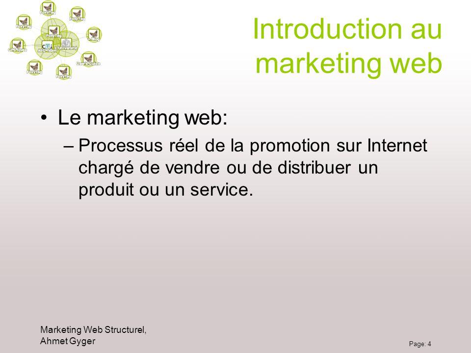 Marketing Web Structurel, Ahmet Gyger Page: 4 Introduction au marketing web Le marketing web: –Processus réel de la promotion sur Internet chargé de v