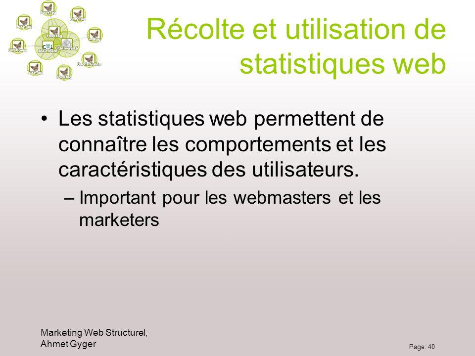 Marketing Web Structurel, Ahmet Gyger Page: 40 Récolte et utilisation de statistiques web Les statistiques web permettent de connaître les comportemen