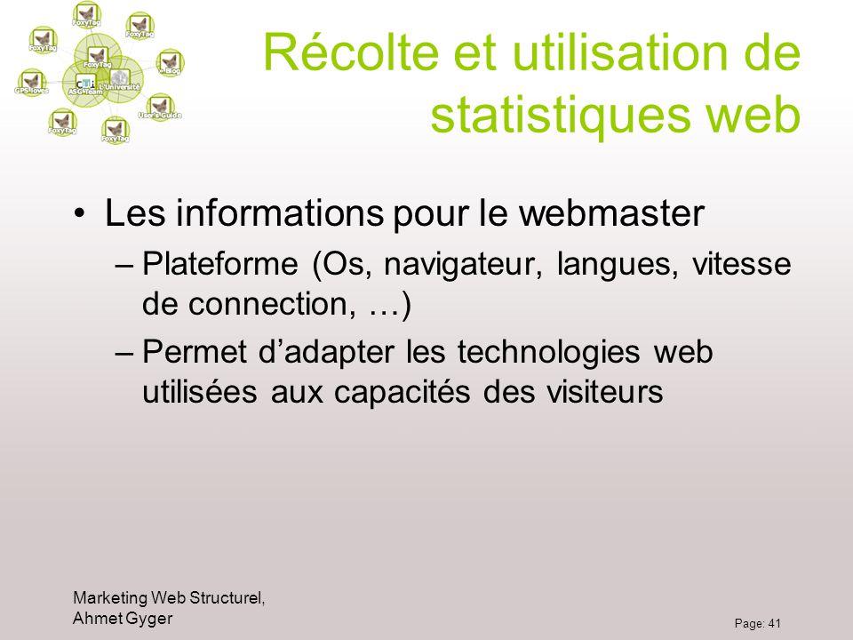 Marketing Web Structurel, Ahmet Gyger Page: 41 Récolte et utilisation de statistiques web Les informations pour le webmaster –Plateforme (Os, navigate