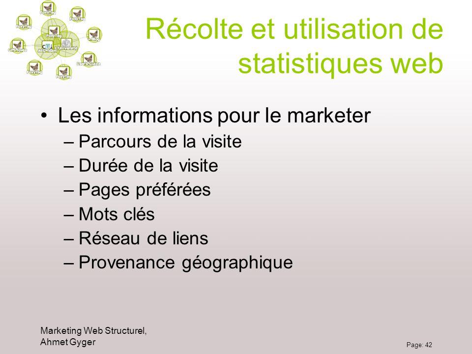 Marketing Web Structurel, Ahmet Gyger Page: 42 Récolte et utilisation de statistiques web Les informations pour le marketer –Parcours de la visite –Du