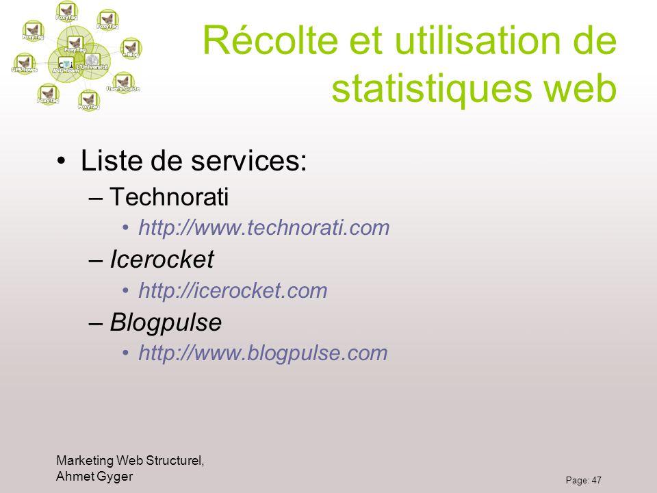 Marketing Web Structurel, Ahmet Gyger Page: 47 Récolte et utilisation de statistiques web Liste de services: –Technorati http://www.technorati.com –Ic