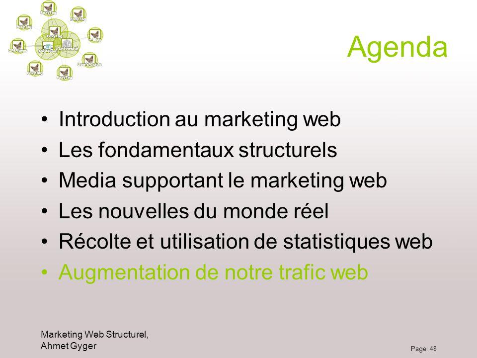 Marketing Web Structurel, Ahmet Gyger Page: 48 Agenda Introduction au marketing web Les fondamentaux structurels Media supportant le marketing web Les