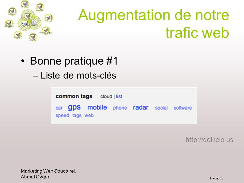 Marketing Web Structurel, Ahmet Gyger Page: 49 Augmentation de notre trafic web Bonne pratique #1 –Liste de mots-clés http://del.icio.us