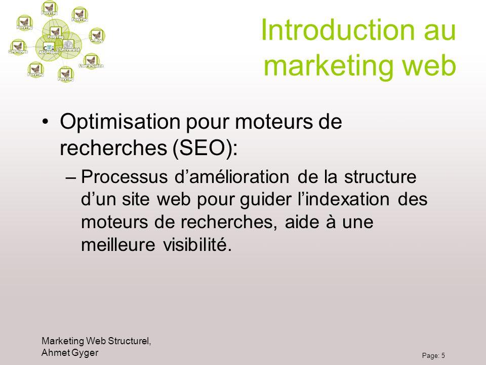 Marketing Web Structurel, Ahmet Gyger Page: 5 Introduction au marketing web Optimisation pour moteurs de recherches (SEO): –Processus damélioration de