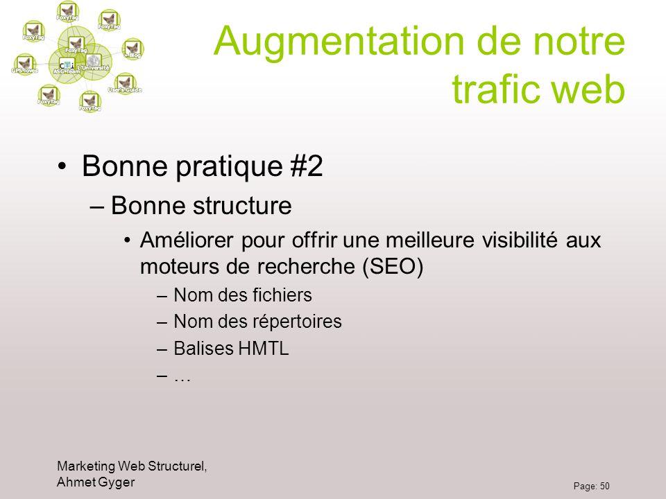 Marketing Web Structurel, Ahmet Gyger Page: 50 Augmentation de notre trafic web Bonne pratique #2 –Bonne structure Améliorer pour offrir une meilleure