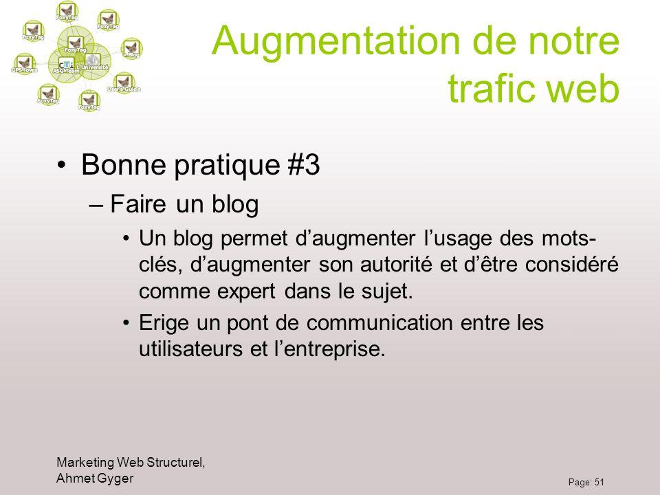 Marketing Web Structurel, Ahmet Gyger Page: 51 Augmentation de notre trafic web Bonne pratique #3 –Faire un blog Un blog permet daugmenter lusage des