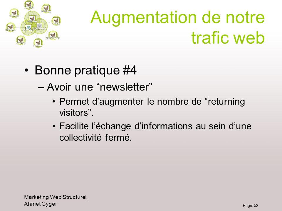 Marketing Web Structurel, Ahmet Gyger Page: 52 Augmentation de notre trafic web Bonne pratique #4 –Avoir une newsletter Permet daugmenter le nombre de
