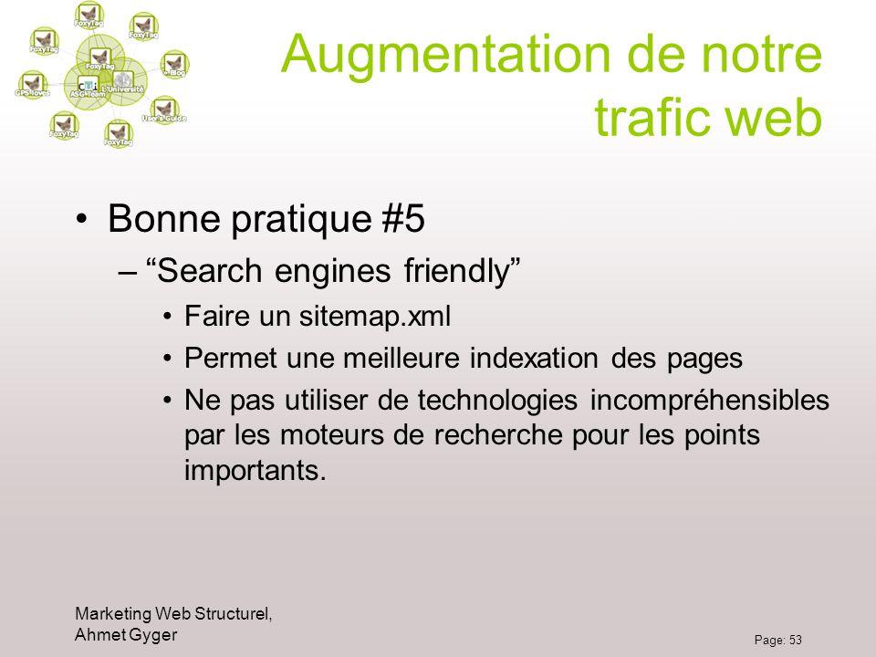 Marketing Web Structurel, Ahmet Gyger Page: 53 Augmentation de notre trafic web Bonne pratique #5 –Search engines friendly Faire un sitemap.xml Permet