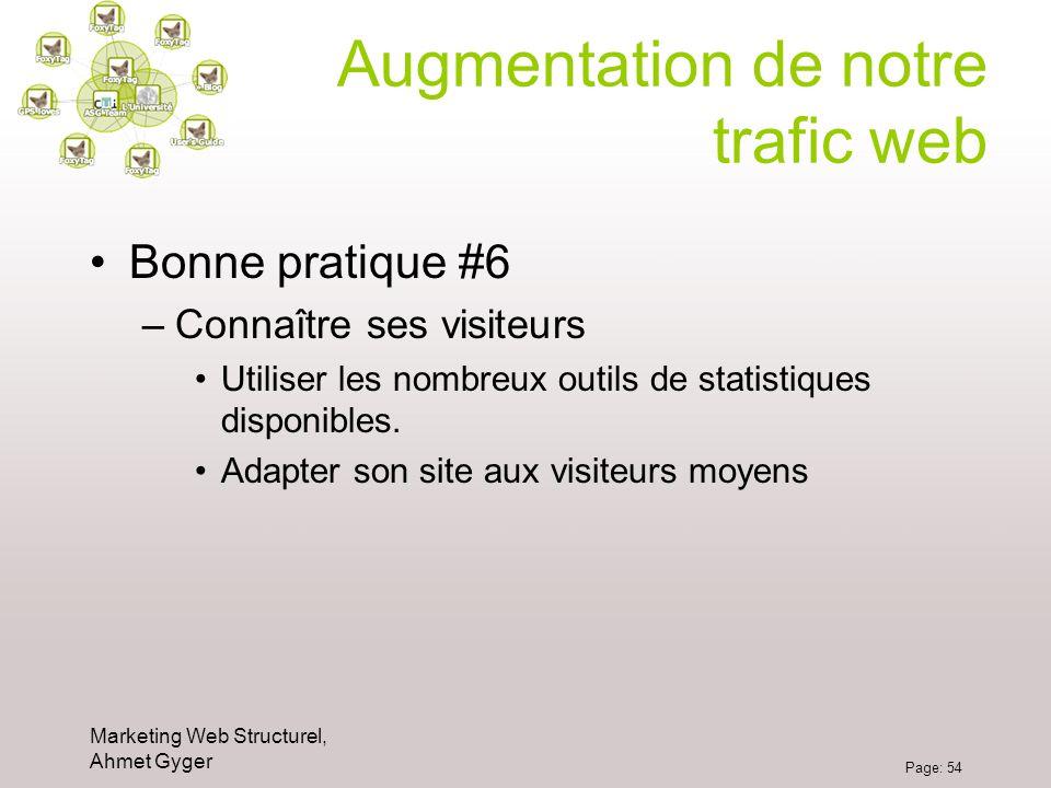 Marketing Web Structurel, Ahmet Gyger Page: 54 Augmentation de notre trafic web Bonne pratique #6 –Connaître ses visiteurs Utiliser les nombreux outil