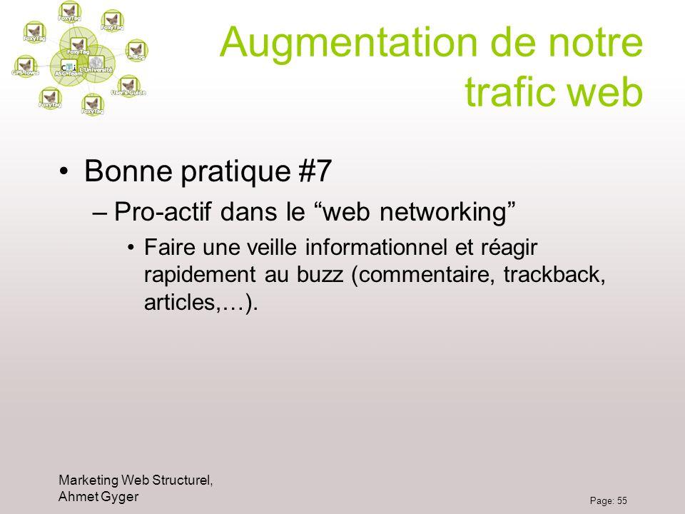 Marketing Web Structurel, Ahmet Gyger Page: 55 Augmentation de notre trafic web Bonne pratique #7 –Pro-actif dans le web networking Faire une veille i