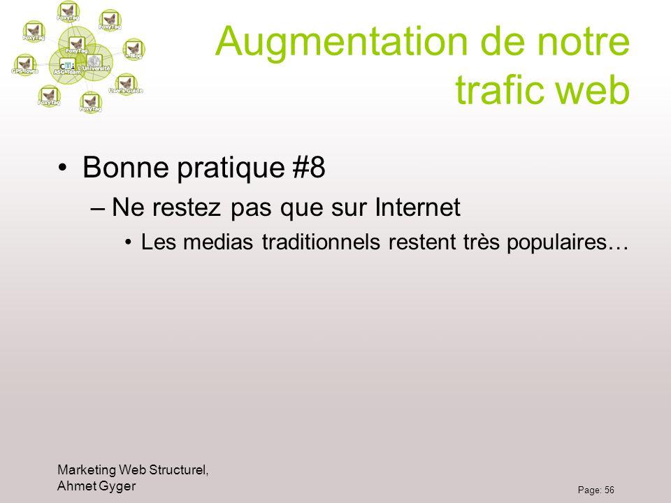 Marketing Web Structurel, Ahmet Gyger Page: 56 Augmentation de notre trafic web Bonne pratique #8 –Ne restez pas que sur Internet Les medias tradition