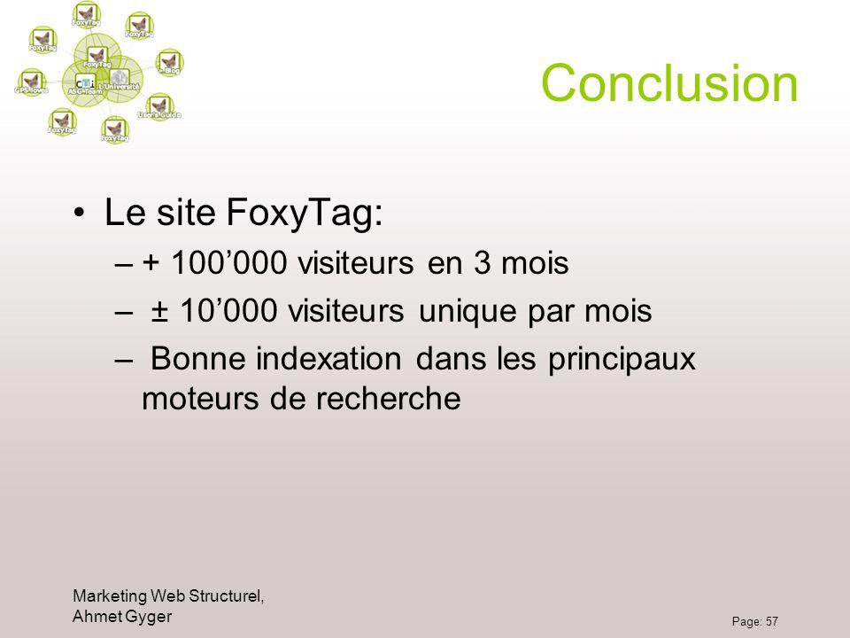 Marketing Web Structurel, Ahmet Gyger Page: 57 Conclusion Le site FoxyTag: –+ 100000 visiteurs en 3 mois – ± 10000 visiteurs unique par mois – Bonne i