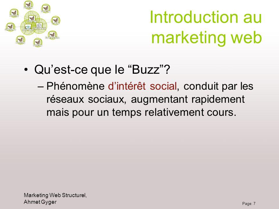 Marketing Web Structurel, Ahmet Gyger Page: 7 Introduction au marketing web Quest-ce que le Buzz? –Phénomène dintérêt social, conduit par les réseaux