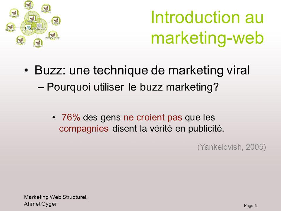Marketing Web Structurel, Ahmet Gyger Page: 8 Introduction au marketing-web Buzz: une technique de marketing viral –Pourquoi utiliser le buzz marketin