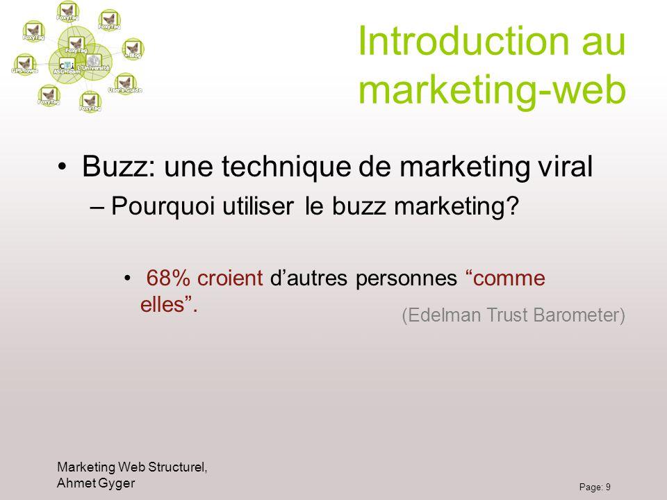 Marketing Web Structurel, Ahmet Gyger Page: 9 Introduction au marketing-web Buzz: une technique de marketing viral –Pourquoi utiliser le buzz marketin