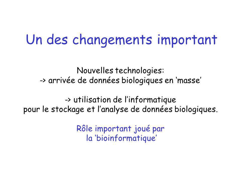Un des changements important Nouvelles technologies: -> arrivée de données biologiques en masse -> utilisation de linformatique pour le stockage et la