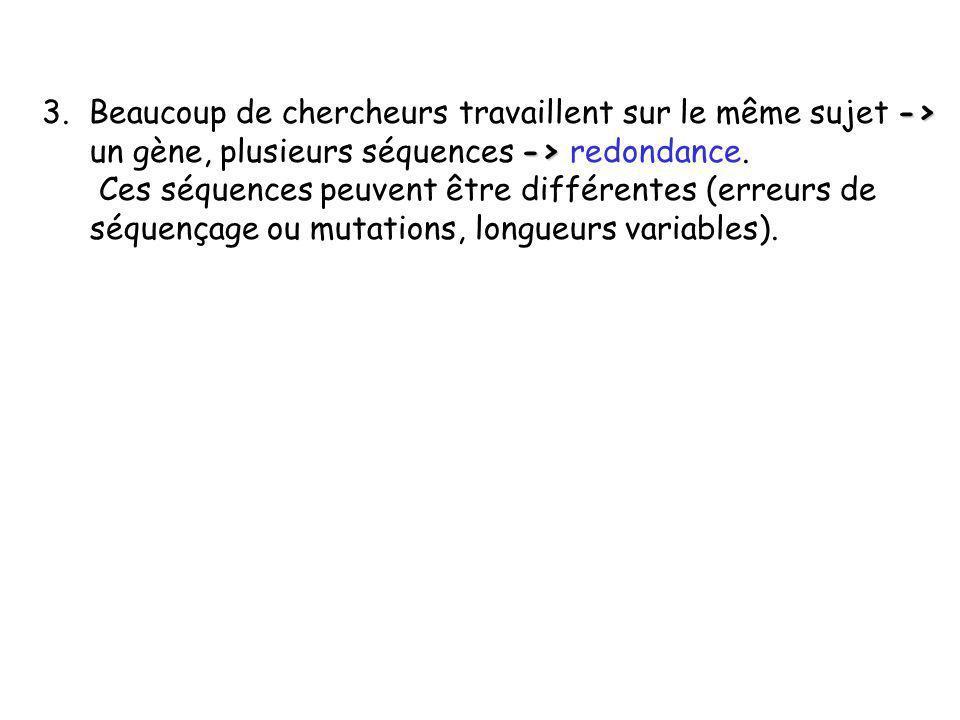 -> -> 3. Beaucoup de chercheurs travaillent sur le même sujet -> un gène, plusieurs séquences -> redondance. Ces séquences peuvent être différentes (e