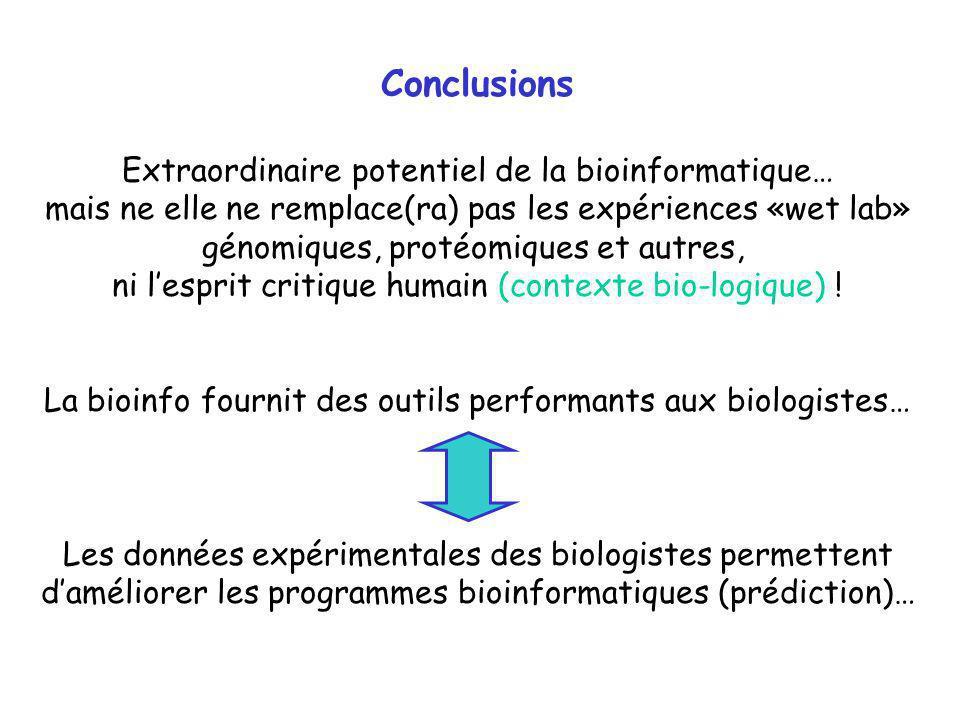 Conclusions Extraordinaire potentiel de la bioinformatique… mais ne elle ne remplace(ra) pas les expériences «wet lab» génomiques, protéomiques et aut