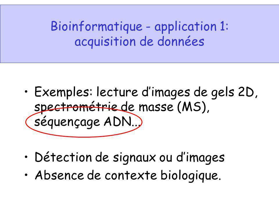 Bioinformatique - application 1: acquisition de données Exemples: lecture dimages de gels 2D, spectrométrie de masse (MS), séquençage ADN... Détection