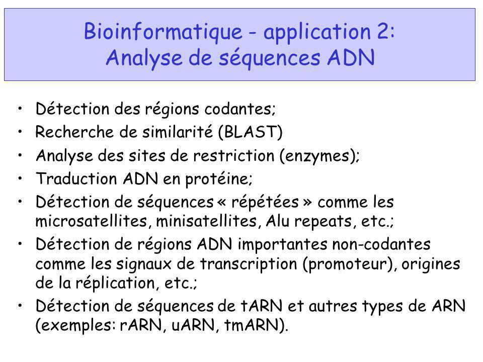 Bioinformatique - application 2: Analyse de séquences ADN Détection des régions codantes; Recherche de similarité (BLAST) Analyse des sites de restric