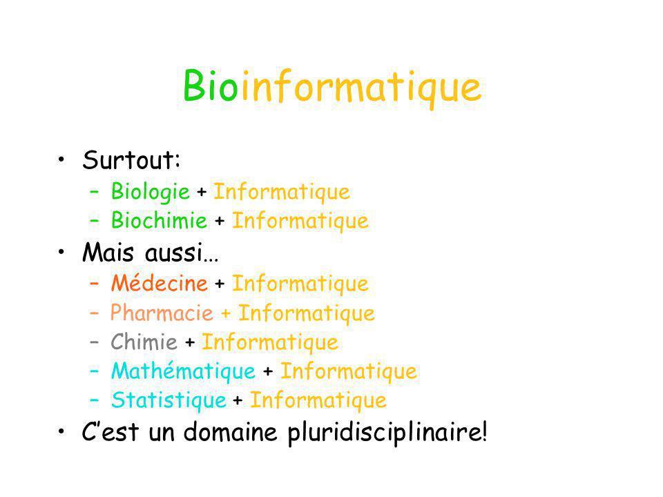 Bioinformatique Surtout: –Biologie + Informatique –Biochimie + Informatique Mais aussi… –Médecine + Informatique –Pharmacie + Informatique –Chimie + I