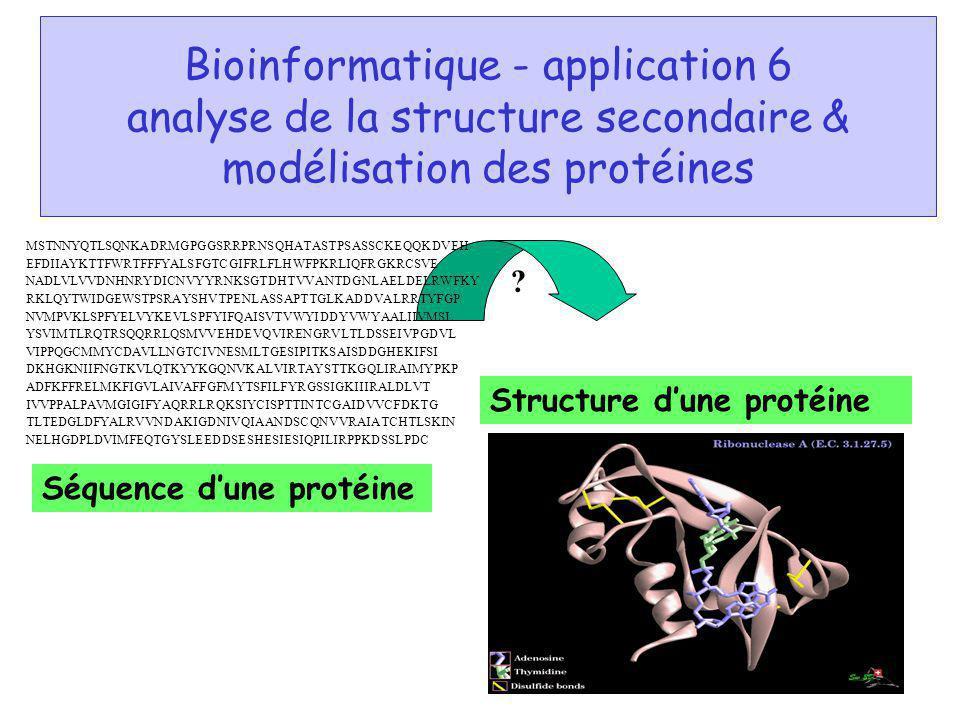 Bioinformatique - application 6 analyse de la structure secondaire & modélisation des protéines Séquence dune protéine Structure dune protéine ? MSTNN
