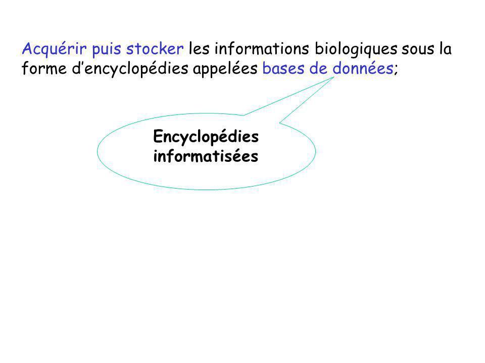 Acquérir puis stocker les informations biologiques sous la forme dencyclopédies appelées bases de données; Encyclopédies informatisées