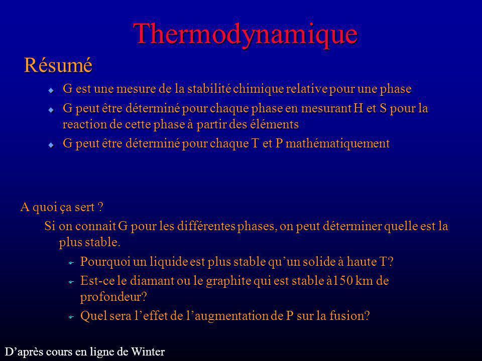 Thermodynamique Résumé u G est une mesure de la stabilité chimique relative pour une phase u G peut être déterminé pour chaque phase en mesurant H et