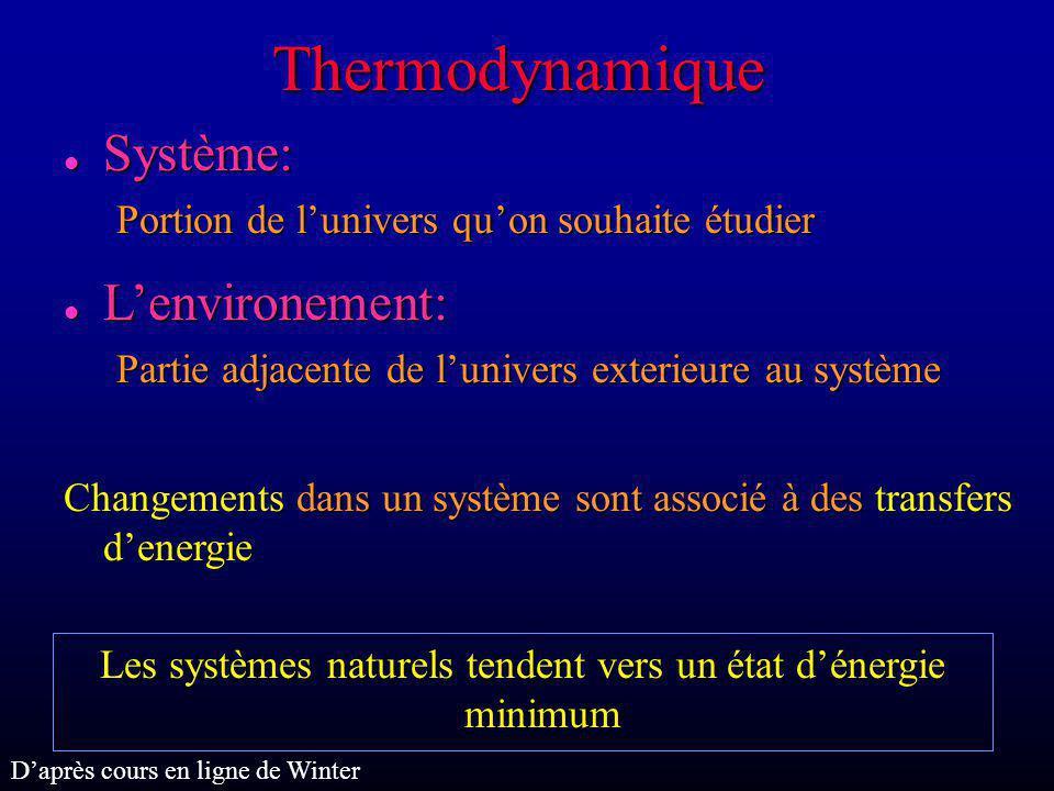 Thermodynamique l Système: Portion de lunivers quon souhaite étudier l Lenvironement: Partie adjacente de lunivers exterieure au système Changements d