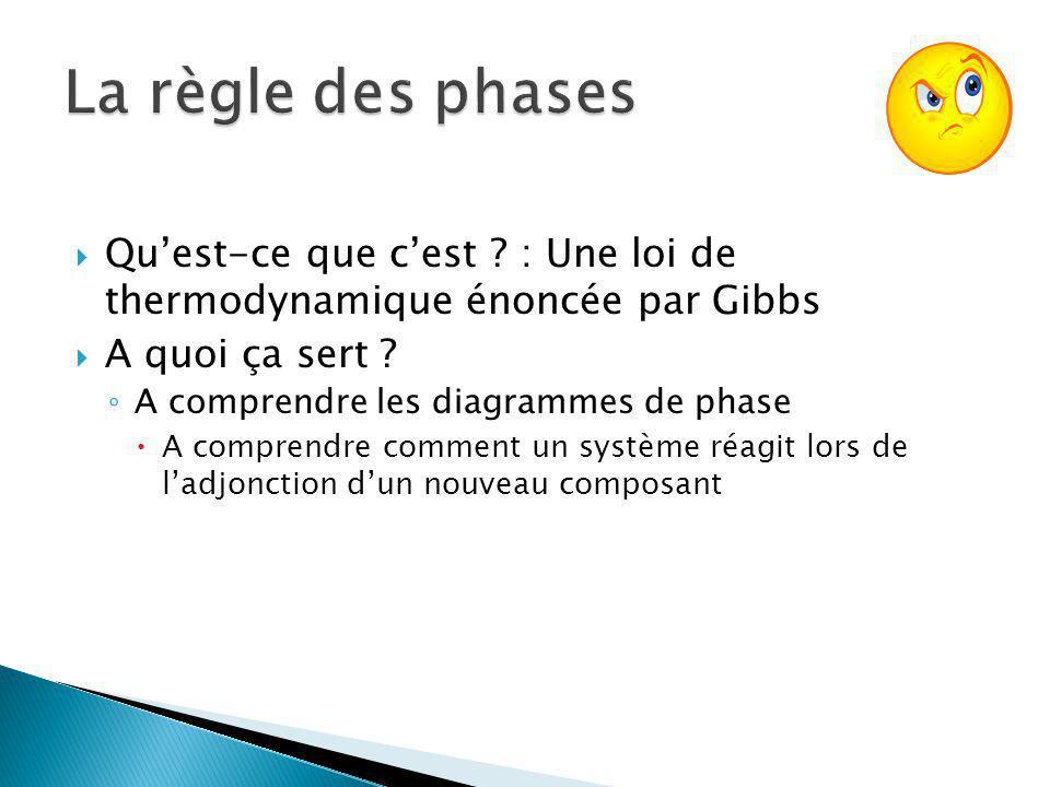 Quest-ce que cest ? : Une loi de thermodynamique énoncée par Gibbs A quoi ça sert ? A comprendre les diagrammes de phase A comprendre comment un systè
