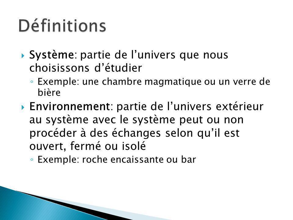 Système: partie de lunivers que nous choisissons détudier Exemple: une chambre magmatique ou un verre de bière Environnement: partie de lunivers extér