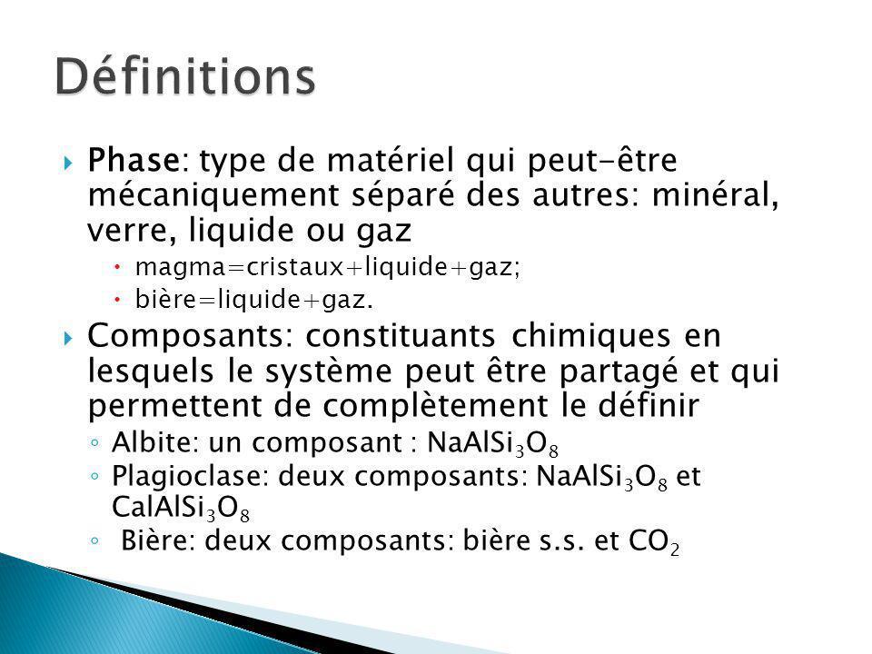 Phase: type de matériel qui peut-être mécaniquement séparé des autres: minéral, verre, liquide ou gaz magma=cristaux+liquide+gaz; bière=liquide+gaz. C