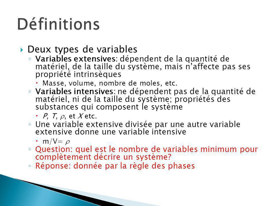 Deux types de variables Variables extensives: dépendent de la quantité de matériel, de la taille du système, mais naffecte pas ses propriété intrinsèq