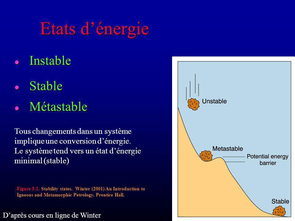 Gibbs Free Energy Energie libre de Gibbs mesure lénergie chimique Tous les systèmes chimiques tendent naturellement vers un état dénergie libre de Gibbs minimum G = H – TS G = Gibbs Free Energy H = Enthalpie (quantité de chaleur) T = Temperature en Kelvins S = Entropie (désordre) Daprès cours en ligne de Winter