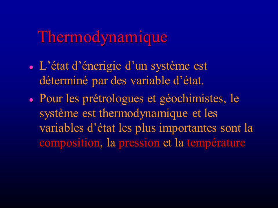 Considérons une réaction, on utilise léquation: d G = VdP - SdT Réaction de fusion (ex: glace eau) Réaction de fusion (ex: glace eau) V: changement de volume durant la réaction (V eau - V glace ) V: changement de volume durant la réaction (V eau - V glace ) S et G: changements dentropie et d énergie libre S et G: changements dentropie et d énergie libre d G est la variation de G lorsque T et P varient G est (+) pour Sol Liq au point A (G S < G L ) G est (+) pour Sol Liq au point A (G S < G L ) G est (-) pour Sol Liq au point B (G S > G L ) G est (-) pour Sol Liq au point B (G S > G L ) G = 0 pour Sol Liq au point x (G S = G L ) G = 0 pour Sol Liq au point x (G S = G L ) G = 0 à léquilibre Daprès cours en ligne de Winter