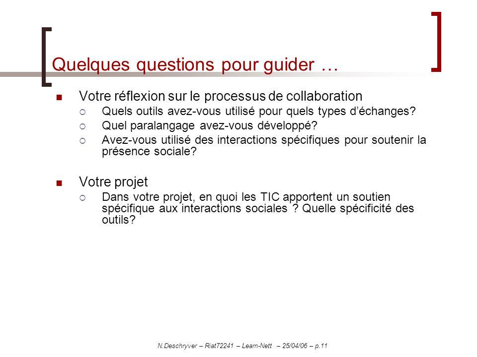 N.Deschryver – Riat72241 – Learn-Nett – 25/04/06 – p.11 Quelques questions pour guider … Votre réflexion sur le processus de collaboration Quels outils avez-vous utilisé pour quels types déchanges.