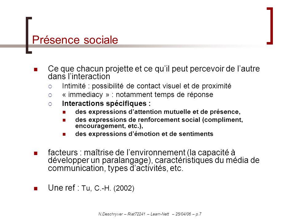 Apports/SpécificitésLimites Mail Forum Chat