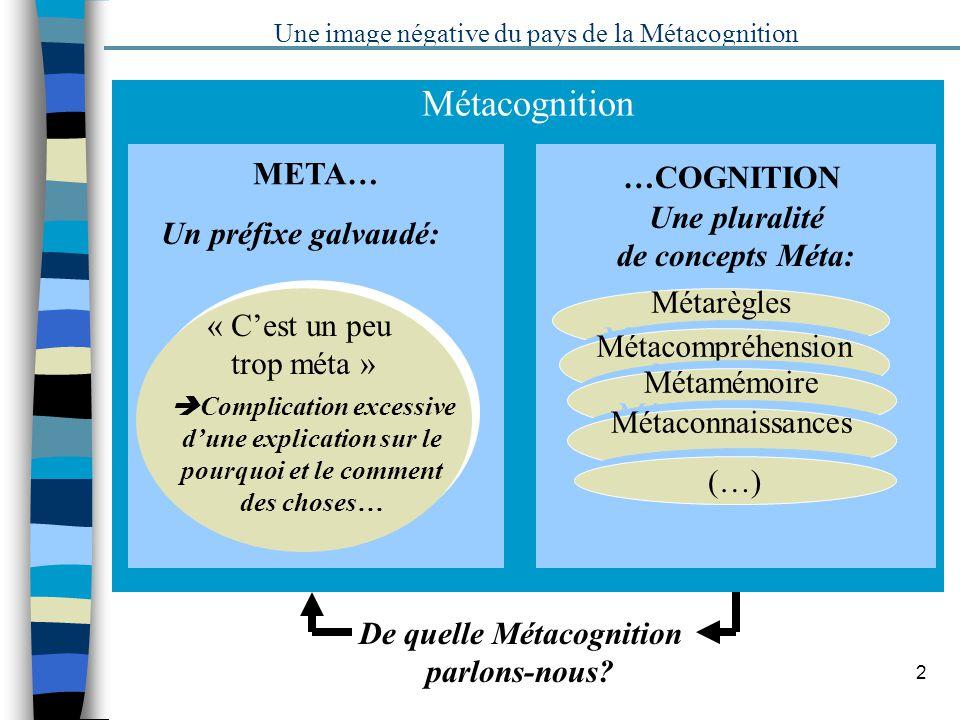 2 Métacognition META… …COGNITION Une image négative du pays de la Métacognition Un préfixe galvaudé: Une pluralité de concepts Méta: « Cest un peu tro