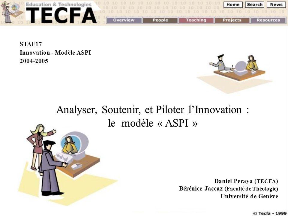 D. Peraya & B. JaccazTICE 2004, 20-22 octobre 2004 STAF17 Innovation - Modèle ASPI 2004-2005 Analyser, Soutenir, et Piloter lInnovation : le modèle «
