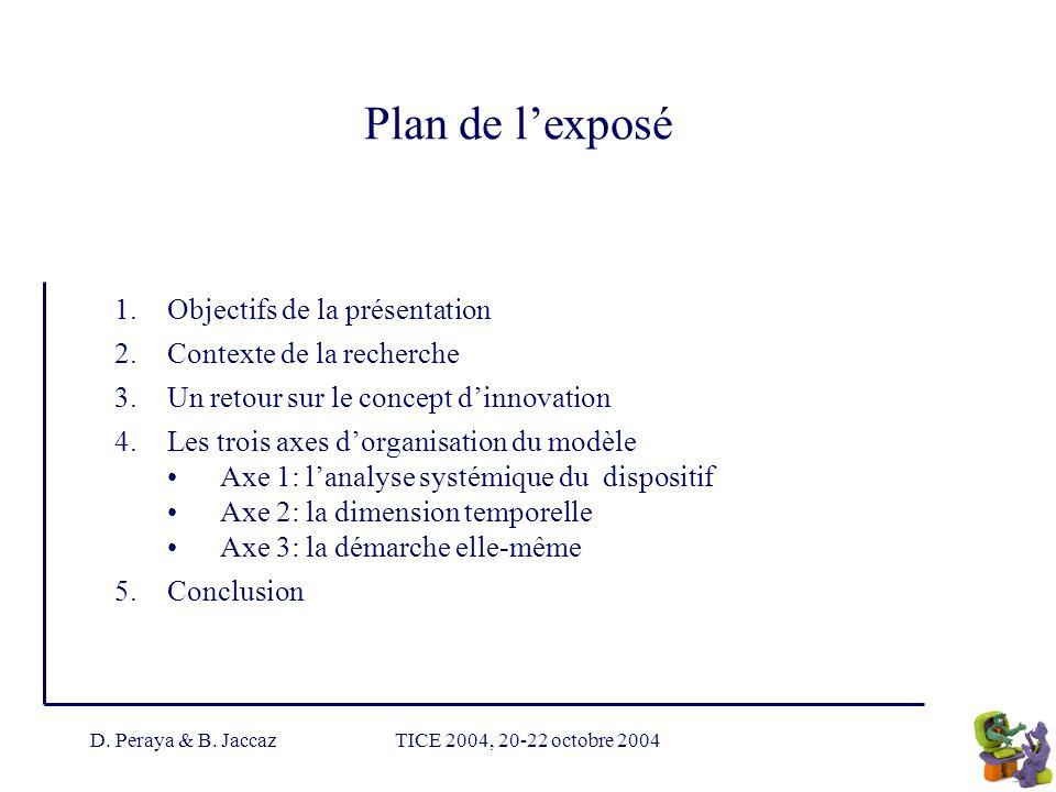 D. Peraya & B. JaccazTICE 2004, 20-22 octobre 2004 Plan de lexposé 1.Objectifs de la présentation 2.Contexte de la recherche 3.Un retour sur le concep